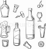 Wine Alcohol Bottles Sketch Drinks Whiskey Cocktails Bottle Beer Colouring Vector Illustration Drink Coloring Pages Liquor Template Sketches Paintingvalley sketch template