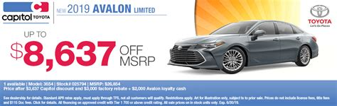 Capitol Toyota Salem by Get An Outstanding Deal On A New Toyota Avalon In Salem Or