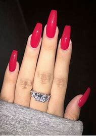 Coffin Acrylic Nails Red