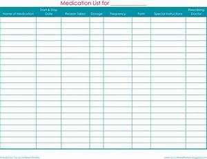 free printable medication list forms search results With blank medication list templates