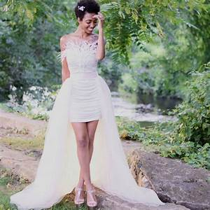 modern short strapless ivory bodycon bridal dress with With over skirt wedding dress