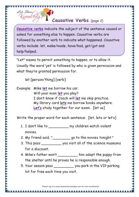 grade 3 grammar topic 41 causative verbs worksheets