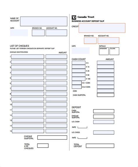 sample deposit slip templates   ms word excel
