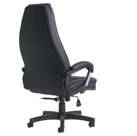 noble high back managers chair black faux leather
