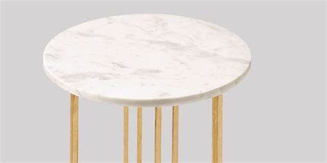 small white marble top side table gold legs