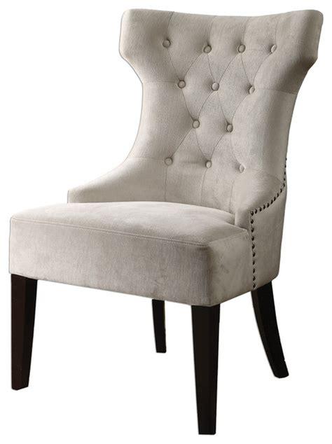 kaylin modern classic tuft velvet ivory beige wing chair