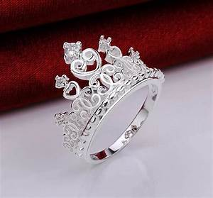 princess crown sterling silver tiara ring size 7 promise With crown wedding rings for her