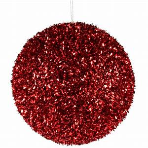 Cut Foil Glitter Ball Red Christmas Ornament