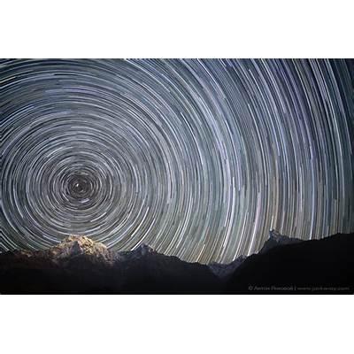 Galaksi Bima Sakti dan star trails di atas Banjaran