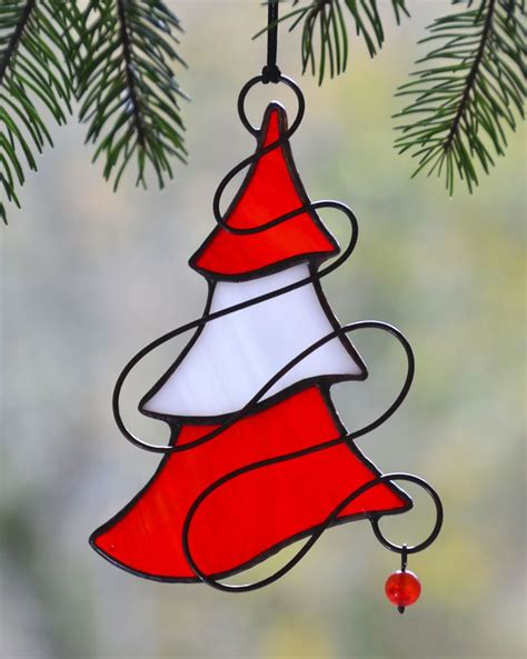 window decorations stained glass christmas tree holiday