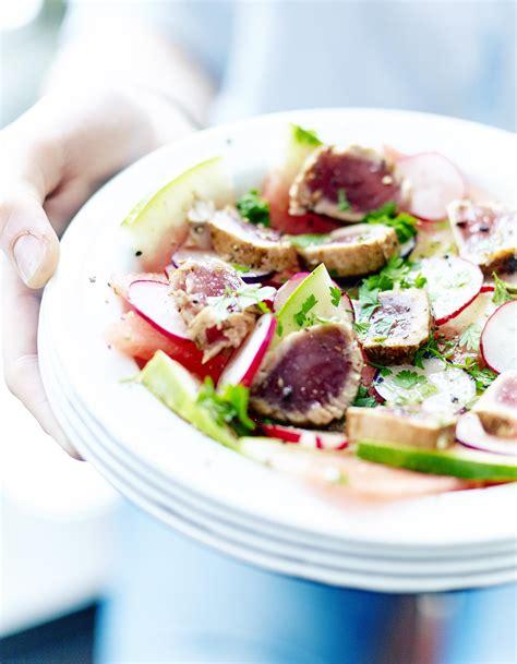 recettes cuisine 2 salade de pastèque tataki de thon pour 6 personnes