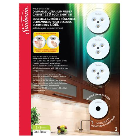 led dimmable  cabinet puck light kit  pack rona