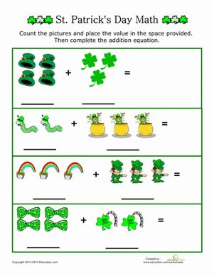 st patrick s day picture addition worksheet education com