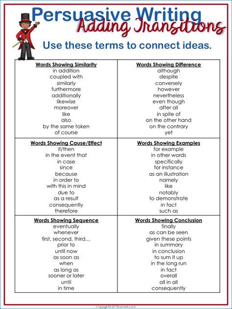 transitions  persuasive writing flow enjoy teaching