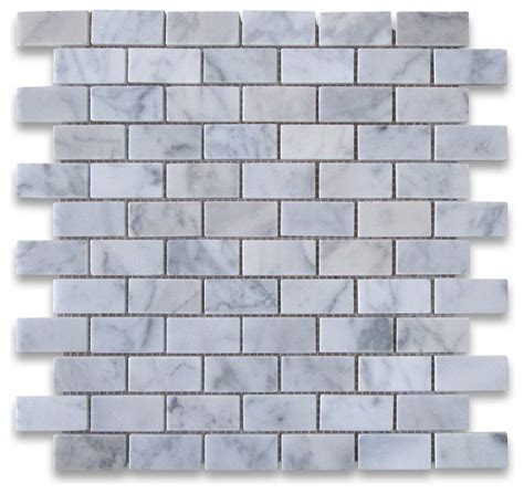 carrara marble subway brick mosaic tile 1x2 polished traditional tile by center