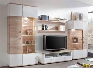 Moderne Tv Möbel : wohnwand eiche s gerauh wei hochglanz exklusive ~ Michelbontemps.com Haus und Dekorationen