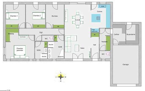 plan de maison 4 chambres plain pied plan maison rectangle 4 chambres