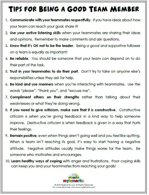 teamwork worksheets for middle school sportsmanship and teamwork worksheets coaching