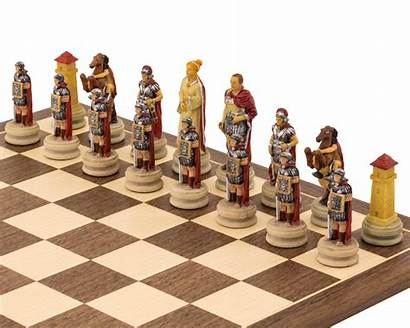 Chess Pieces Romans Egyptians Painted Themed Italfama