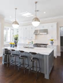 Grey Kitchens with White Cabinets and Island