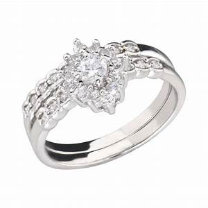 cluster round cubic zirconia rhodium ep bridal engagement With rhodium wedding ring sets
