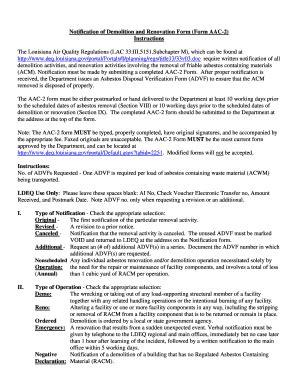 asbestos notification demolition renovation form aac