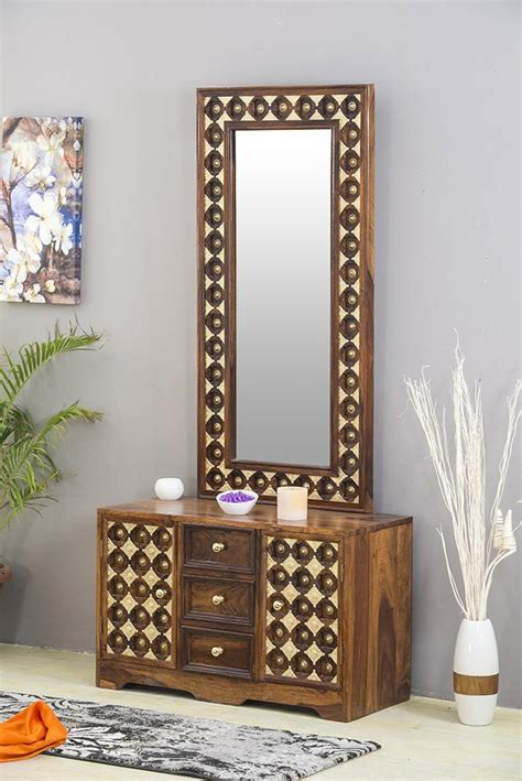 buy solid wood brass dressing table