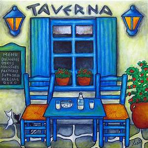 Table For Two In Greece Painting by Lisa Lorenz