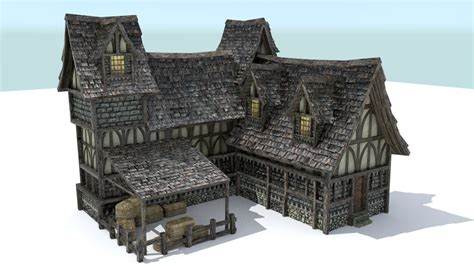Low Poly Wallpaper 1920x1080 House Medieval Town 3d Model