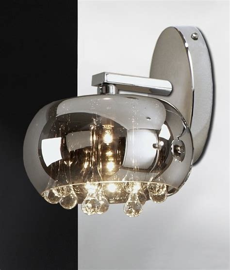 wall light with smoked glass and chrome