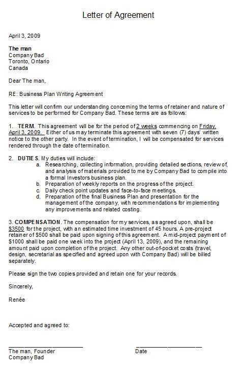 printable sample letter  agreement form business