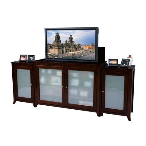 tv lift cabinet tuscany espresso tv lift cabinet with side cabinets for