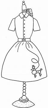 Coloring Pages Dress Poodle Skirt Form 1950s Google Applique Colouring Pattern Embroidery Sock Hop 50s Maniquies Skirts Dresses Forms Books sketch template