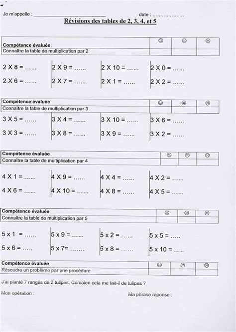 evaluation tables de multiplication ce2 farqna
