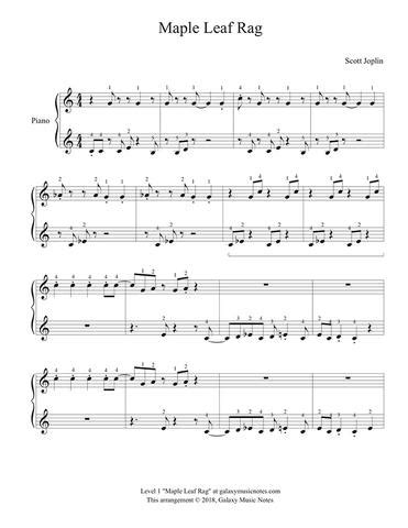 Maple leaf rag is an early ragtime musical composition for piano composed by scott joplin. Maple Leaf Rag   Beginner's piano sheet music   Scott Joplin