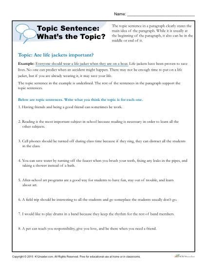 topic sentence what s the topic writing worksheet