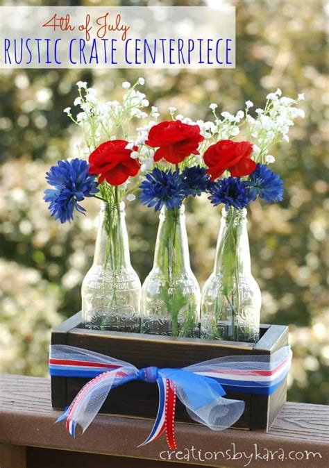 july centerpiece  rustic crate