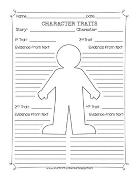 Character Traits Graphic Organizer Worksheet By Your Thrifty Coteacher