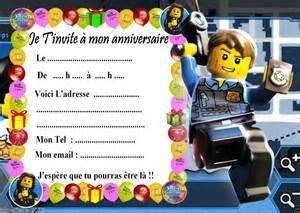 5 Cartes Invitation Anniversaire Lego City 04 D'autres En