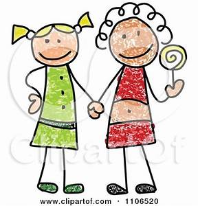 Clipart Stick Drawing Of Two Best Friend Girls Holding ...