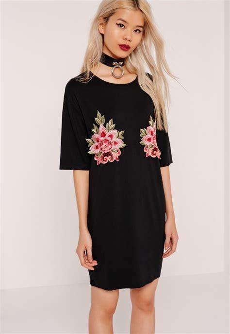 t shirt dresses applique t shirt dress black missguided