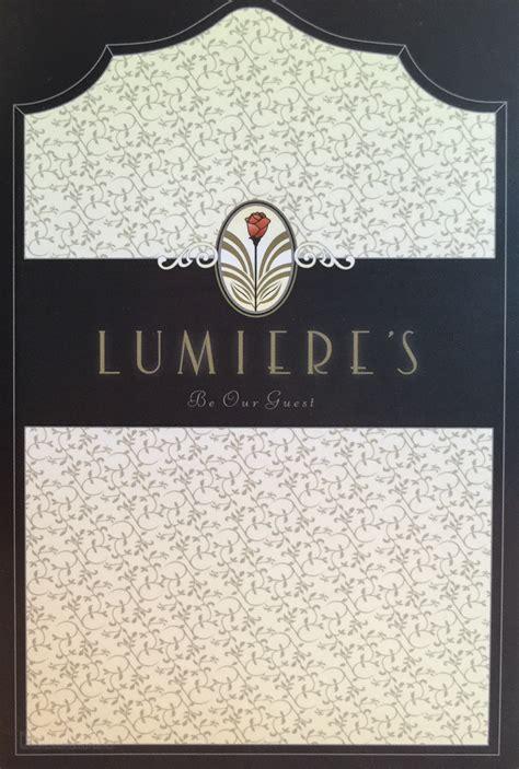 lumieres menu  disney cruise  blog