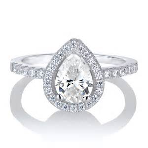 pear shaped halo engagement rings kajana 39 s 2ct cz pear cut halo engagement ring