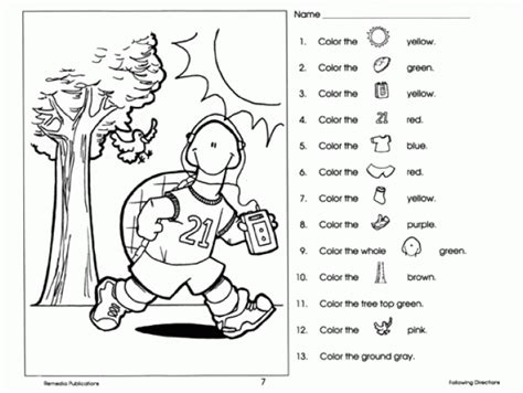 Following Directions Coloring Pages The Best Worksheets