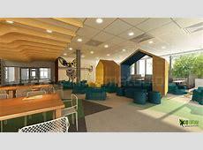 Ultra Modern 3D Office Cafe Area Design View