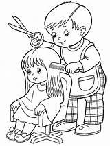 Professions Oficios Ausmalbilder Hairdresser Pompier Deti Kadernik Profesie профессии раскраски Wortschatz Berufe Sanch Sanat çocuklar Bomberos Boyama Profesiones Schritt Preescolar sketch template