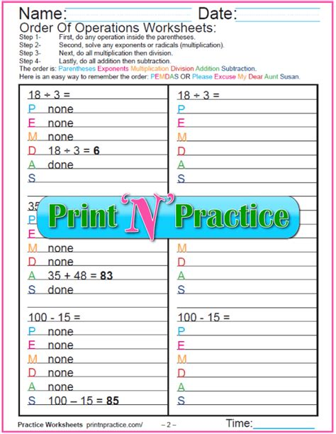 order  operations worksheets  kids