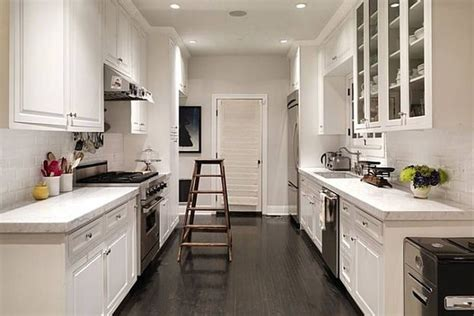 enchanting two tone black and white galley kitchen design