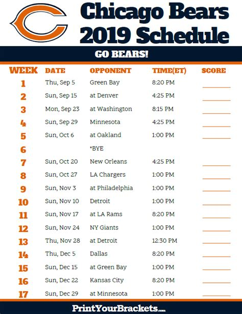 printable chicago bears schedule season
