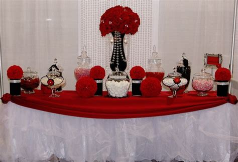 black and white candy table red white black bling table custom candy dessert